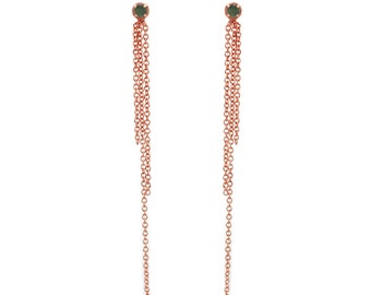 Gemstone Fringe Earrings - Rose Gold Chain Earrings - Green Tourmaline Delicate Dainty Earrings - Festive Earrings - Bridal - Birthstone