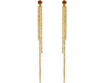 Gemstone Fringe Earrings - Gold Chain Earrings - Delicate Dainty Earrings - Festive Earrings - Bridal - Birthstone - Pink Tourmaline