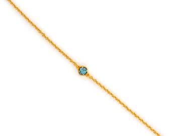 Dainty Chain Bracelet - Delicate Tiny Gemstone Bracelet - Layering Bracelet - Petite Blue Topaz Bracelet - Birthstone - Friendship