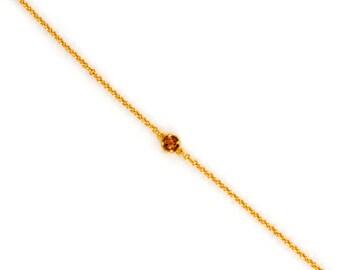 Dainty Chain Bracelet - Delicate Tiny Gemstone Bracelet - Layering Bracelet - Petite Citrine Bracelet - Birthstone - Friendship