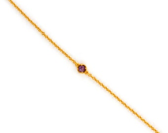 Dainty Chain Bracelet - Delicate Tiny Gemstone Bracelet - Layering Bracelet - Petite Amethyst Bracelet - Birthstone - Friendship