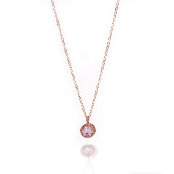 Gemstone POP Necklace Rose Gold Necklace Amethyst Necklace  2362fcdcf5bc