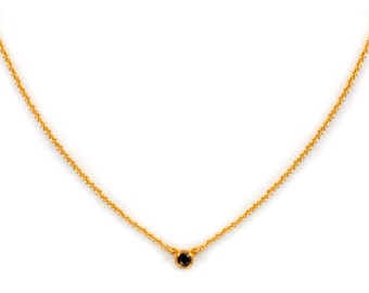 Dainty Gemstone Necklace - Delicate Gold Chain Necklace - Onyx Necklace - Birthstone - Tiny Gemstone Necklace - Layering Necklace