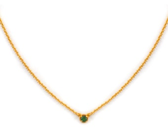 Dainty Gemstone Necklace - Delicate Gold Chain Necklace - Green Tourmaline Necklace - Birthstone - Tiny Gemstone Necklace -Layering Necklace