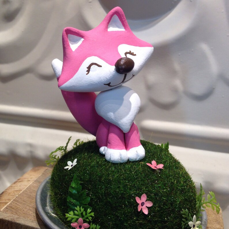 Pink or Blue Woodland Fox Cake Topper  Birthday or baby image 0
