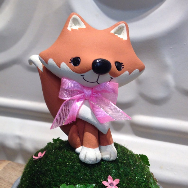 Woodland Fox with bow Cake Topper  Choose your color image 0