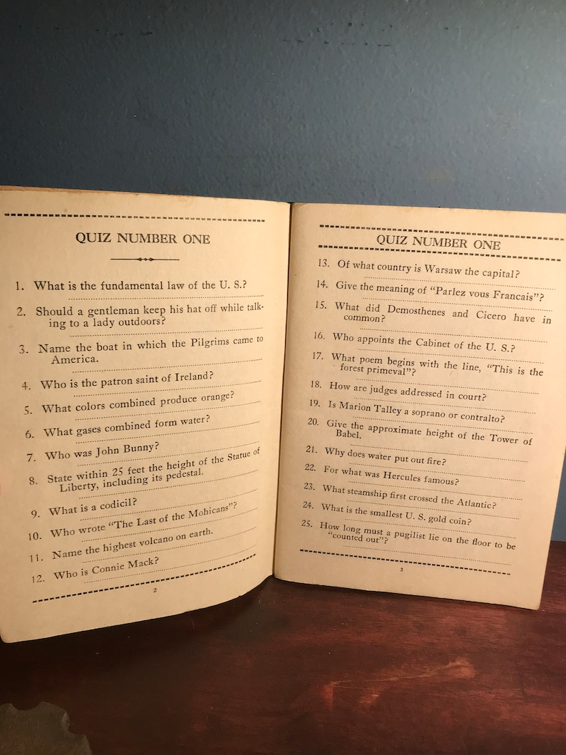 Antique Trivia Book What do You Know? Question Book Entertainment Party  Book Decor Collectible