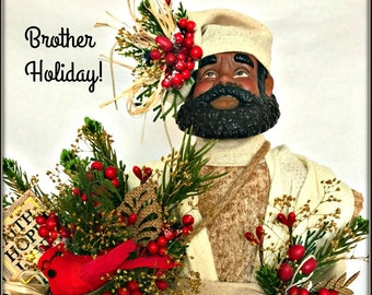 African American Male Christmas Decoration, Brother Holiday, Mantle Christmas or Tree Topper, Kwanzaa Man, Black Man Christmas Tree Topper,