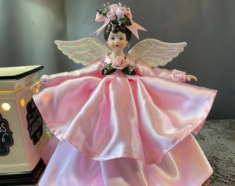 Pink Floral Angel Tree Topper Porcelain One of a Kind Angel Pretty Brown Haired Angel Tree Topper Brunette Angel Treetop