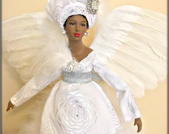 large 19 inch black angel all white african american mantle sized angel tree topper christmas angel white african fabric tree top angel - Black Christmas Angels