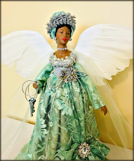 image 0 - Black Angel 19 Inch African American Christmas Tree Topper Etsy