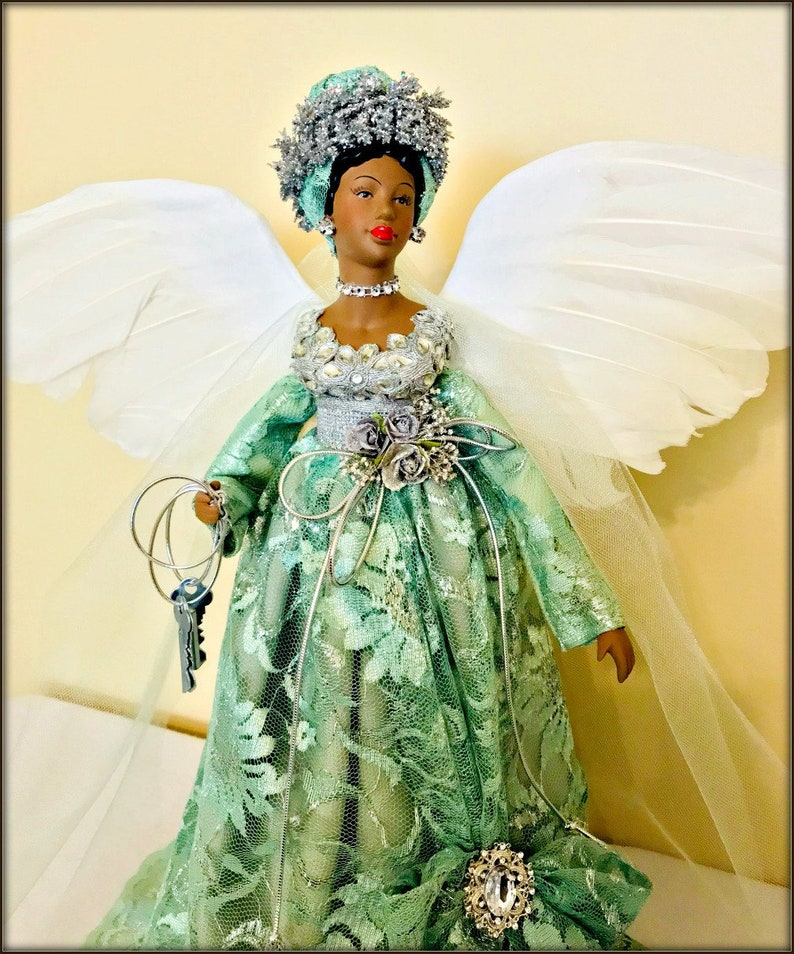 Black Angel 19 Inch African American Christmas Tree Topper Large Mantle Holiday Angel Porcelain Afrocentric Angel Decor Green And Silver