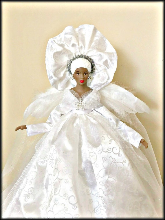 Celebrate It Christmas Tree Topper African American Black Angel 11