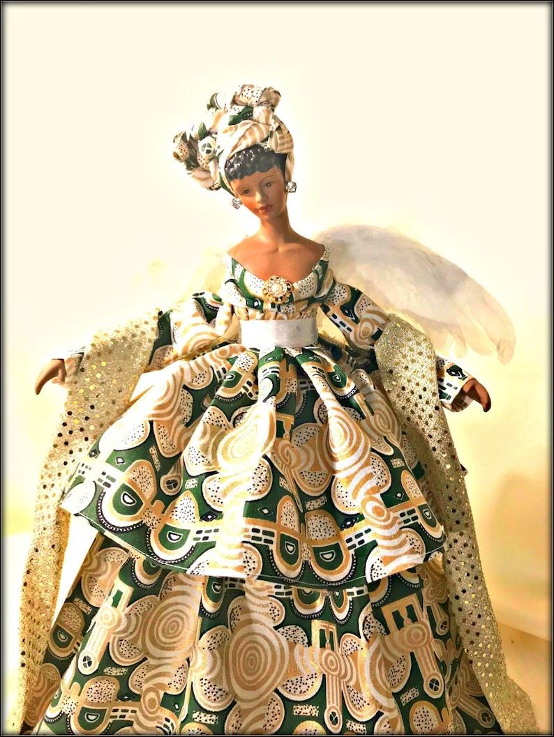 African American Angel Black Angel Tree Topper Christmas Kwanzaa Angel Ooak Porcelain Handmade Black History Month Collectible Angel