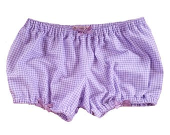 JULY PREORDER Lolita Bloomers purple flannel gingham shorts cotton underwear lingerie drawers pajamas nightwear sleepwear cute