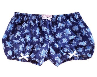 JULY PREORDER Lolita Bloomers navy blue flowers shorts cotton underwear lingerie drawers pajamas nightwear sleepwear cute