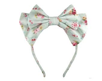 Lolita bow headbow light blue floral japanese fabric headband head band alice headdress handmade accessory