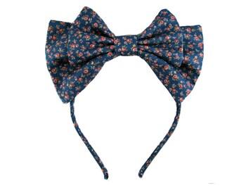 Lolita bow headbow dark blue with pink floral japanese fabric headband head band alice headdress handmade accessory