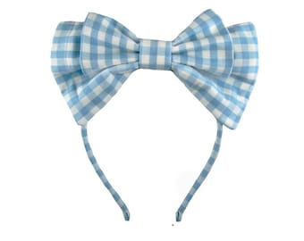Lolita bow headbow classic plaid blue white gingham japanese fabric headband head band alice headdress handmade accessory
