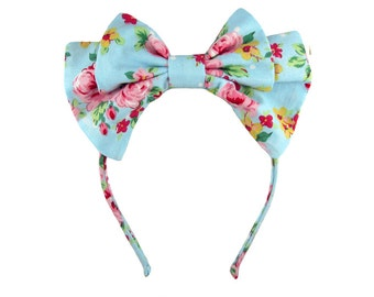 Lolita bow headbow bright blue and pink floral japanese fabric headband head band alice headdress handmade accessory