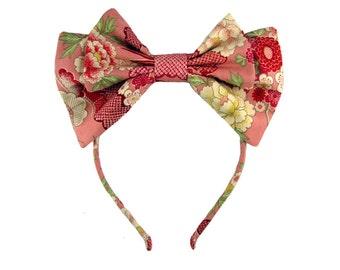 Lolita bow headbow pink wa-loli yukata japanese fabric headband head band alice headdress handmade accessory