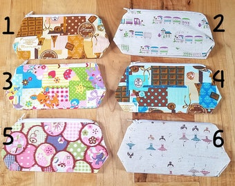 READY TO SHIP Cosmetic pouch bag sweets chocolate eighties kawaii ballerina japanese fabric make up case gift bag travel kit toiletry zipper