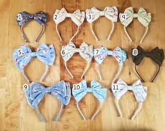 READY TO SHIP Lolita bow headbow plaid gingham print floral japanese fabric headband head band alice headdress handmade accessory