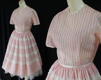 50s Jean d'Arc Dress, Stripes, Rockabilly, Mid Century Fashion, Mad Men Dress