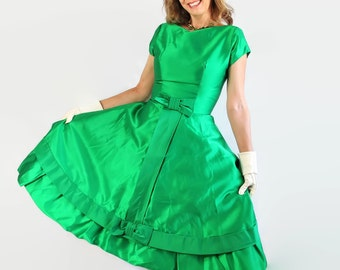 RESERVED KIM 50s 60s Dress, Emerald Green, Holiday Party, Cocktail, Vintage Wedding