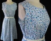 ON SALE 50s Dress, Marta D, Cotton, Sleeveless, Metal Zipper, Housewife, Sundress, Day Dress, Sundress, Rockabilly