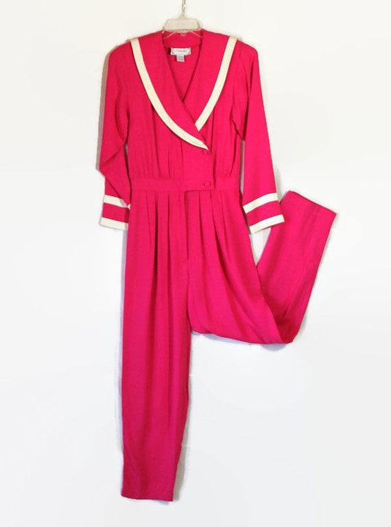 80s Jumpsuit, Hot Pink, Nautical, Sailor Collar, W