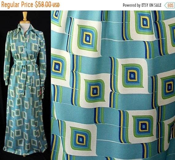 b228d76b982 ON SALE Leslie Fay Mod Maxi Dress Abstract Print Deadstock