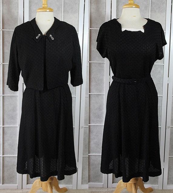 50s Little Black Dress Plus Size Bolero Jacket 2pc Set Etsy