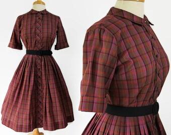50s 60s Cos Cob Shirtwaist Dress, Rockabilly, Plaid