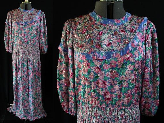 Diane Freis Dress, 80s Floral, Sequins, Bloused Sl
