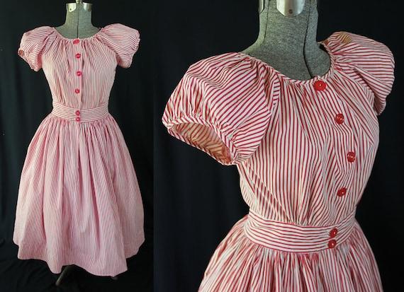 40s 50s Dress, Striped, Rockabilly, Day Dress, Puf