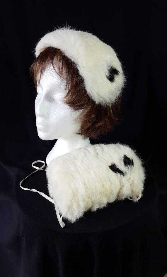 50s 60s Muff Hat Set, Rabbit Fur, Vintage Children