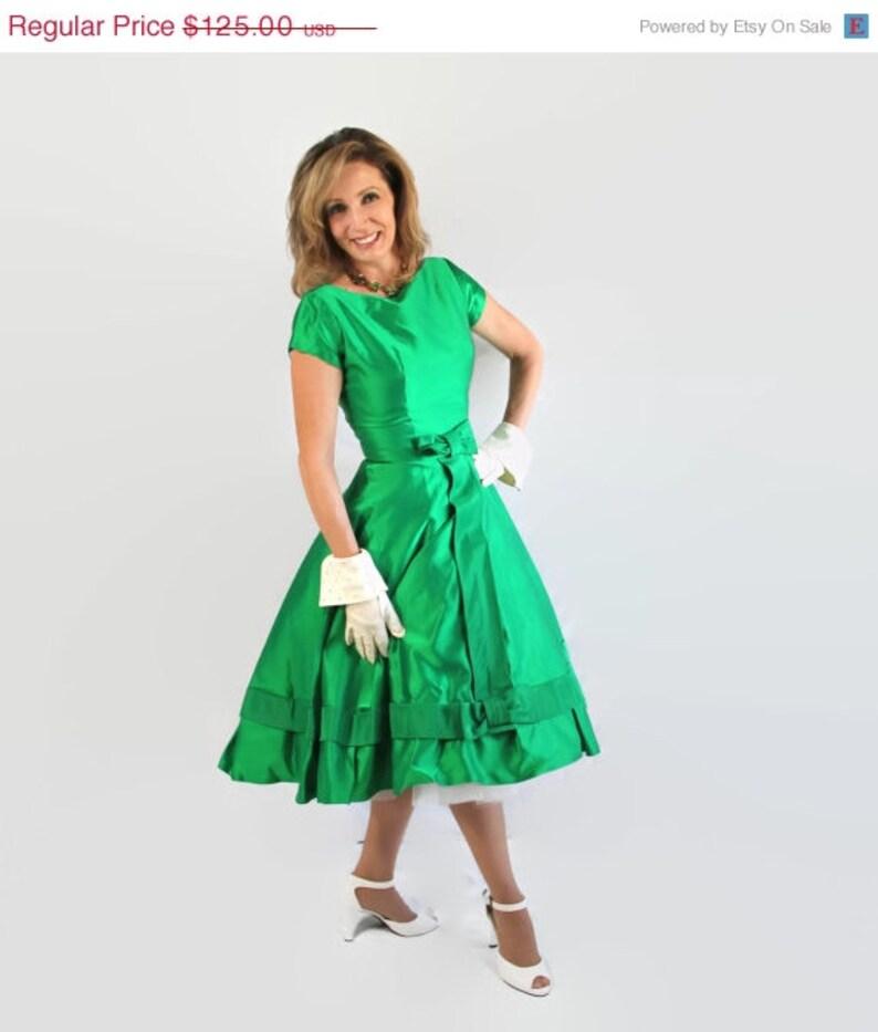 d9f0465c785 50 s 60 s robe vert émeraude fête Cocktail mariage Vintage