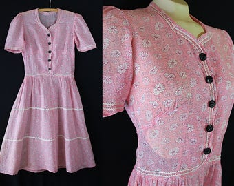 1930s 40s Dress, Day Dress, Sheer Cotton, Vintage Handmade, Pink, Ric Rac Trim, As IS