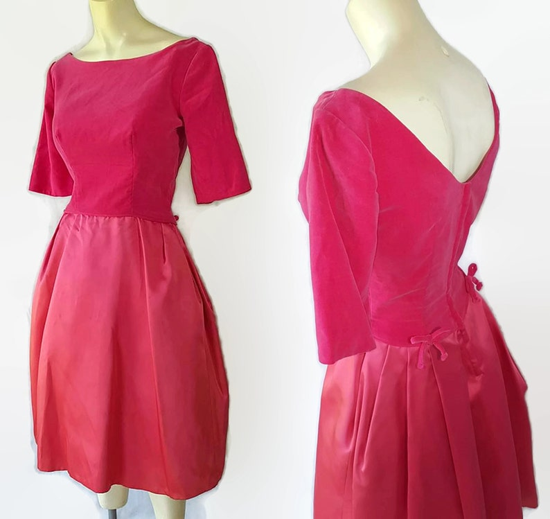 5ab08e94d0 50s 60s Dress Pink Velvet Satin Party Dress Vintage