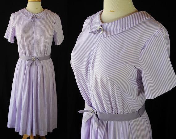 60s Plus Size Dress, Stripes, Lilac, Day Dress, Sp