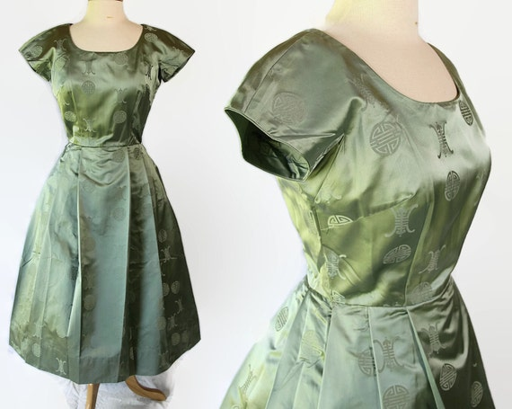 50s Dress, Silk, Cocktail Party, Oriental, Holiday