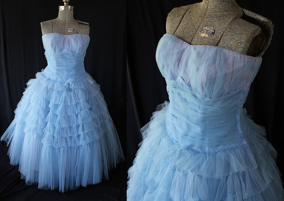 50s Cupcake Dress, Blue Tulle, Vintage Prom Weddin