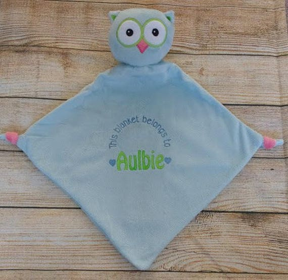 New Baby birth Gift Personalised Baby Comforter snuggle Blanket,Cubbie BLUE OWL