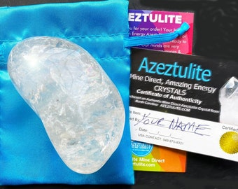 Azeztulite Palm Stone, Freeform Gallet, Pouch and Certificate of Authenticity ONE