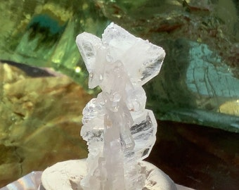 Azeztulite Rare Faden Crystal Cluster with Certificate Pouch