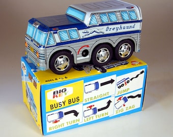Vintage Tin W/U Greyhound Busy Bus from Japan, dating from 1975, NOS