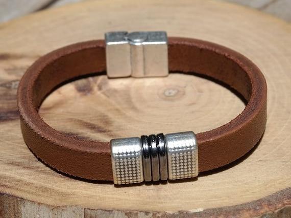 Valentines Gift For Him Men Leather Bracelet Leather Etsy