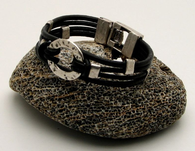 spacers and clasp Black leather bracelet with silver plated  textured donut medallion Women leather bracelet