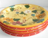 s 4 Sunset Bouquet Hand Painted Oneida Kitchen Dinner Plates Multi Color Floral Pattern Rare Pattern